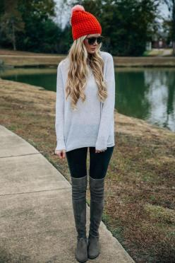 Over-The Knees Trend: Amber Fillerup Clark is wearing her praline over-the-knee boots from Stuart Weitzman: Fillerup Clark, Style, Beanie Outfit, Knee Boots, Winter Outfit, Winter Fashion, Amber Fillerup, Fall Staple, Fall Winter