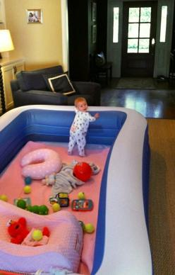 Perfect baby safe play area. Why did I never think of something like that???!!!: Babies, Good Ideas, Play Areas, Kids, Baby Stuff