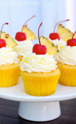 Pineapple Cream Cupcakes. Add Coconut Milk to the Batter, and It Will Taste Like a Pina Colada!: Pineapple Cupcake, Cream Cupcakes, Cream Cheese, Cup Cake, Summer Cupcake, Cake Mix