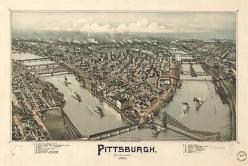 Pittsburgh, Pennsylvania (1902) -(Antique-Old Map) 8x10 Print-Reproduction: Pennsylvania 1902, 8X10 Reproduction, Old Maps, Antique Old Map, 8X10 Print Reproduction
