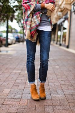 Plaid blanket scarf, gray tee, dark denim and ankle boots: Plaid Blankets, Blanket Scarf Outfit, Ankle Boots, Ankleboots, Ankle Boot Outfits Fall, Fall Winter, Dark Denim, Plaid Scarf