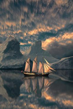 plasmatics:  I Am Sailing by Peter From, boat, ship, water, clouds, mountains, Mother Nature, breathtaking, transportation, reflections, gloomy, beautiful, panorama, sails, silence, stunning.: Peter O'Toole, Nature, Sailing Ships, Art, Beautiful, Boat
