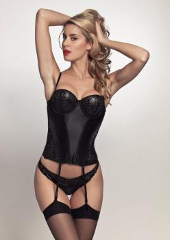 Pleasure State Couture | Coco Anne Bustier | Black | Ciréd lace | Swarovski | Satin | Basque: Ciréd Lace, Couture, Black Laces, Bustiers, Black Satin, U.S. States, Swarovski