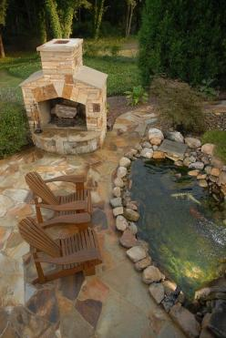 pond and fireplace: Water Feature, Fire Place, Idea, Backyard Ponds, Koi Ponds, Fire Pit