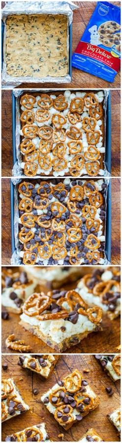 Pretzel S'mores Chocolate Chip Cookie Bars #pillsbury: Chocolate Chip Pretzel Cookies, Chocolate Chips, Cookie Bars, Cookies Brownies Treats, Pretzel Chocolate Chip Cookies, S More, Chocolate Chip Cookie Smores, Cakes Cookies Breads Sweets
