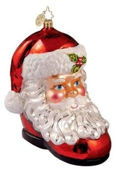 """RADKO SANTA CLAUS Cute To Boot 4.5"""" Glass Ornament. """"Cute To Boot""""4.5"""" Tall Glass Ornament  RETIRED DESIGNTerrific rendition of classic Santa Claus Radko Style - inside a whimsical boot - beautifully painted - made in Poland.Christopher Ra"""