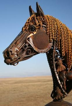 Really great horse with found objects. The eye looks real.  Wish I could find the artist's name.: Metal Sculptures, Art Sculpture, Found Object Sculpture, Horses, Horse Sculpture, Metal Art, John Lopez
