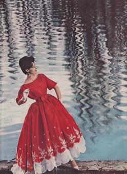 Red evening dress formal gown satin fit flare full skirt white lace hem edging puff sleeves round wide neckline 50s color photo print ad model magazine 60s style fashion: Nina Ricci, 1950S, Vintage Dresses, Vintage Fashion, Reddress, 1950 S, Vintage Style