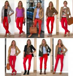 Red pants: Idea, Everyday Fashion, Red Skinny Jeans, Style, Red Jeans, Outfit, J S Everyday, Fall Winter, Red Pants