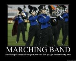 Sacrificing all respect from your peers so that you get to wear funny hats. And the overalls... Don't forget the overalls.: Music, Band Thing, Funny Hats, Marching Band, Band Geek, Band Nerd, Band Jokes, Band Life, Marching Bands