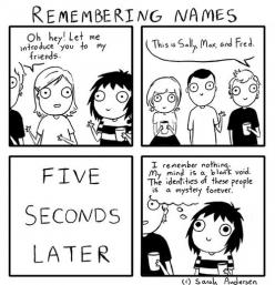 Seriously! Its like as soon as names start being mentioned mind zones out.  WHO ARE YOU PEOPLE?!?! -Patrick Star  But actually, c'mon mind! Get it together. Then I have to ask, sorry how do you spell your name?  M-A-X -_-  Im just done: Sarah Andersen