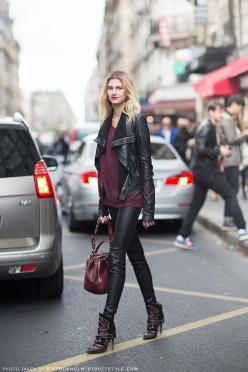 sigrid ågren - Damn, Look at those Boots: Black Leather Jackets, Fashion, Fall Style, Color, Street Style, Outfit, Street Styles, Black Leather Pants, Closet