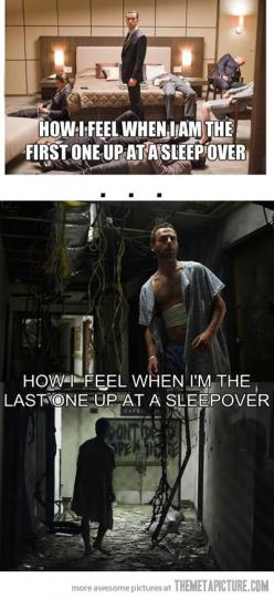Sleepover...I really just think the Walking Dead pic is super creepy and totally worth pinning and getting freaked out over again.: Funny Pictures, Walking Dead, So True, Funny Stuff, Humor, Funnies, Walkingdead