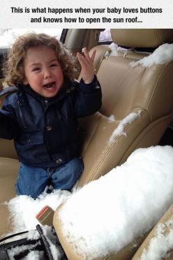 Snowing Inside The Car: Open, Babies, Sun Roof, Funny Stuff, Loves Buttons, Kid