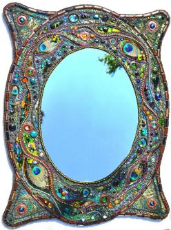 sold - Mosaic peacock mirror - mosaic art, Real peacock feather inlays. £355.00, via Etsy.: Peacocks, Peacock Mirror, Mosaics, Feather Inlays, Mirror Mosaic, Mosaic Art
