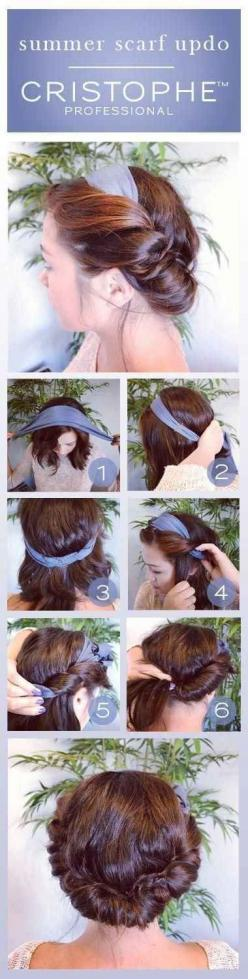 Summer Scarf Updo | 23 Five-Minute Hairstyles For Busy Mornings: Summer Scarves, Hairstyles, Hair Styles, Hairdos, Makeup, Summer Scarf, Scarf Updo