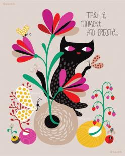 take a moment... limited edition giclee print of an original illustration (8 x 10 in). $25.00, via Etsy.: Helendardik, Cat, Illustrations, Art, Limited Edition, Helen Dardik