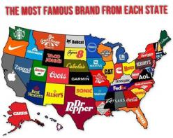 The most famous brand each state has created... But it is wrong. First Walmart was in Oklahoma: America, Stuff, Maps, Random, Corporate States, Interesting, Things, U.S. States