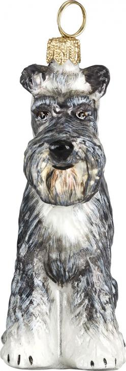 The Pet Set Schnauzer Glass Christmas Ornament - Handcrafted in Europe by Joy to the World Collectibles: Christmas Pets, Glass Christmas Ornaments, Schnauzer Ornament, Schnauzer Glass, Schnauzer Dogs