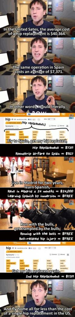 The real cost of getting sick in the US…   Read More Funny:    http://wdb.es?utm_campaign=wdb.es&utm_medium=pinterest&utm_source=pinterst-description&utm_content=&utm_term=: Hip Replaced, Giggle, American Healthcare, Hip Replacement, Healt