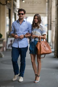 The straps on her bag make so much more sense than how you usually see straps attached!!: Oliviapalermo, Johannes Huebl, Fashion, Inspiration, Street Style, Palermo Style, Olivia Palermo, Stylish Couple