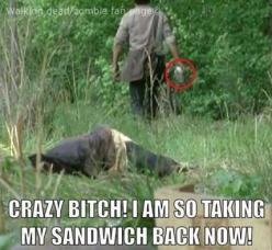The Walking Dead.  This is funny if you saw this episode....and wondered what was going on w/ the sandwich.: Thewalkingdead, The Walking Dead, Funnies, Walking Dead Zombies, Didnt, Funny Rick