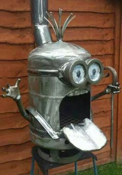 This Is My Kind Of minion Art. See my Despicable Me Minions pins https://www.pinterest.com/search/my_pins/?q=minions: Fire Pits, Minions, Stove, Ideas, Stuff, Minion Fire, Funny, Firepit