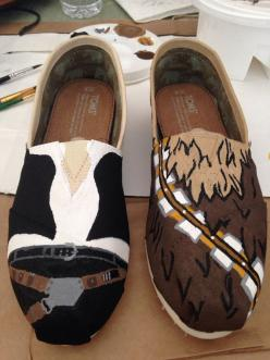 @Troy Parquer Parquer Asbury Han Solo and Chewbacca Shoes... Shut the front door! Please oh please may I have these???: Fashion Style, Tom Shoes, Awesome Shoes, Toms Shoes, Star Wars, Han Solo, Solo Toms, Starwars Shoes