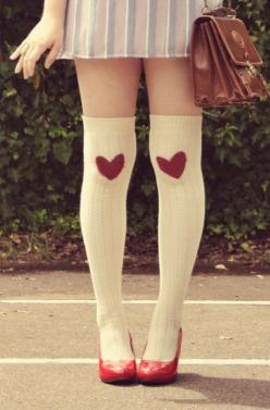 unless you are a cast member of pretty little liars or it's halloween, please do not wear knee highs: Knee High, Fashion, Thigh High, Style, Clothes, Heart Knee, Knee Socks, Valentine