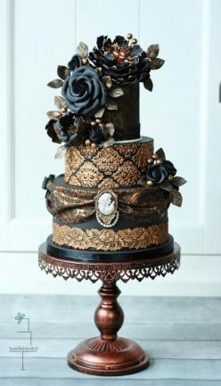 Victorian gothic wedding cake - Cake by Tamara: Weddings, Amazing Cakes, Beautiful Cake, Wedding Cakes, Gold Wedding, Gothic Wedding Cake, Victorian Gothic Wedding