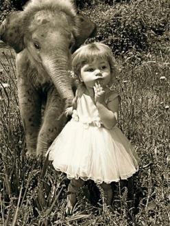 Vintage photo of little girl with baby elephant - so cute! I think she's leading him by the trunk and stopped for a second to decide where to go next, look how patient he's being :+): Little Girls, Babies, Animals, Sweet, Baby Elephants, Pet, Phot