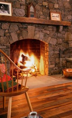 Warm and cozy; now for a good book and a respite from Pinterest for a night :) • photo: Mountain Lumber Co.: Ideas, Cabin, Fireplaces Mantels, Mantels Fireplaces, Hearth, Stone Fireplaces, Fire Places