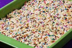 Warning: cake batter rice crispy treats. You will probably never make regular rice crispy treats again.3 Tbsp. butter  1 (10 oz.) bag of mini-marshmallows  1/4 cup yellow cake mix (the dry cake mix, not prepared into a batter!)  6 cups crispy rice cereal