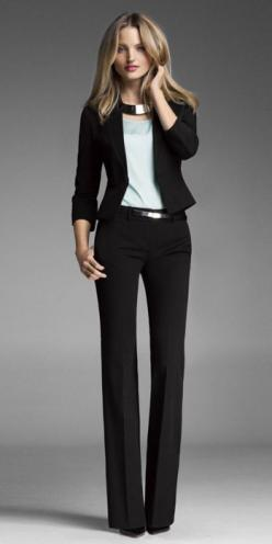 WEARING THE STUDIO STRETCH PEPLUM JACKET & COLUMNIST PANT WILL COMPLETED YOUR OUTFIT FOR THE DAY. #ExpressHoliday: Office Work Outfit, Business Outfit, Black Slack, Work Outfits, Interview Outfit