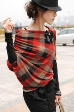 what a fantastic look - the wrap is gorgeous! #style: Fashion, Stylish Plaid, Chic Street Style, Outfit, Red Plaid, Fall Plaid, Has