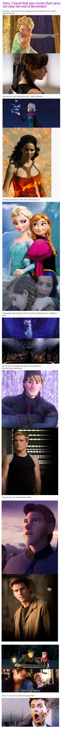Why Frozen and The Hunger Games are basically the same along with the Doctor's face on the bottom <3: Mind Blown, Mindblown, Catching Fire, Hunger Games, Hungergames, Movie, David Tennant, The Hunger Game