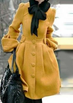 winter coat that makes a statement: Fashion, Style, Color, Yellow Coat, Coats