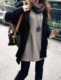 Winter Fashion of wooly jumpers, scarf and a warm coat #winterwarmers: Sweaters, Fashion, Style, Winter Outfit, Fall Outfit, Big Sweater, Fall Winter