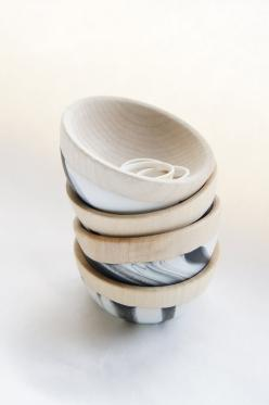 Wooden Mini Bowl Set of Two: Black and White Swirl: Swirl Bowls, Black And White, Tableware, Minis, Design