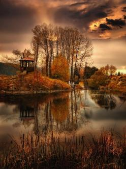 wow!  I think this is a gazebo on an amazing island...but I am going to pretend it is a secret hideaway treehouse!  :): Photos, Reflection, Nature, Fall, Beautiful Place, Places, Landscape, Photography