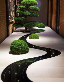 wow love this contemporary indoor garden! stunning reflection of lights and planting in the dark dyed water feature: Water Feature, Interior, Idea, Gardening, Gardens, Indoor Garden, Garden, Design