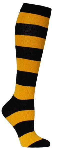 Yellow & black large striped knee high length sock. Fits women's shoe size 5-10.  Made in USA!: Black Large, Knee Highs, Stripes, Products, Knee High Socks, Yellow Black