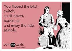 You flipped the bitch switch, so sit down, buckle up, and enjoy the ride, asshole. Sorry, but this really made me laugh: Asshole Husband Ecards, Bitch Switch, Bitch Unleashed, Asshole Ecards, Funny Jokes, Asshole Husband Quotes, Funny Videos, Bitch Mode,