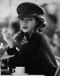 Young Kate Moss | smoking at a cafe | coffee and cigarettes | black & white fashion photography | UK model | sweet and innocent |: Coffee And Cigarettes, Face, Sweet, Youngkatemoss, Fashion Photography, Baby Kate, Has