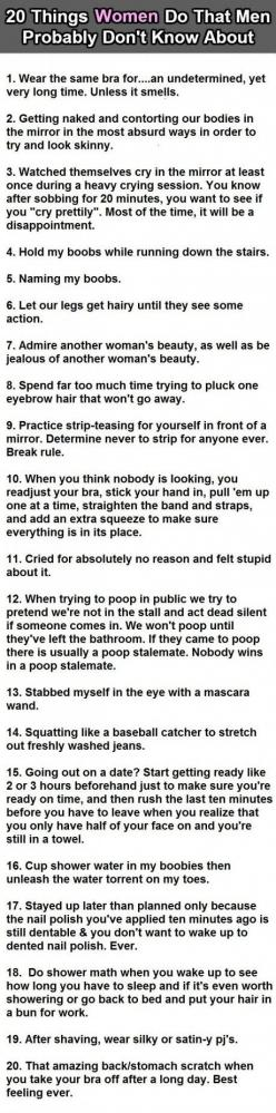 20 Things women do that men probably dont know about. Ahhh, the pooping showdown. Always a good time.: Giggle, Girl, Truth, Men'S, 20 Things, So True, Funny Stuff, Things Women