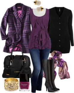 """""""Purple Layers - Plus Size"""" by alexawebb ❤ liked on Polyvore: Plussize, Plus Size Winter Coat, Plus Size Coat, Purple Outfit, Purple Jacket, Size Fashion, Winter Outfit, Plus Size Outfits, Purple Top"""