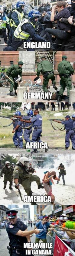 Across the world // funny pictures - funny photos - funny images - funny pics - funny quotes - #lol #humor #funnypictures: Police Brutality, Funny Things, Funny Pics, Funny Pictures, Humor Funnypictures, Funny Stuff, Meanwhile In Canada, Funny Quotes