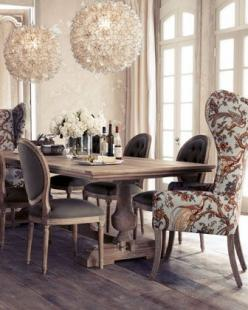 Again, this was pinned with no credit to anyone. So apologies if anyone is being ripped off. The lights are awesome, though!: Decor, Dining Rooms, Interior, Idea, Dinning Room, Host Chair, Side Chairs, Dining Tables