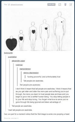 Although this is meant for a laugh I'd like to point out the person who actually makes sense. What they say is so true!: Short People, Tumblr Post, Giggle, Tumblr Funny, Tall People, Big Comment, Funny Tumblr
