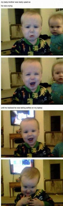 And this baby who has discovered the transformative and healing powers of the selfie. | 22 Babies Who Discovered Selfies: Picture, Selfie, Face, Giggle, Baby, So Funny, Kid
